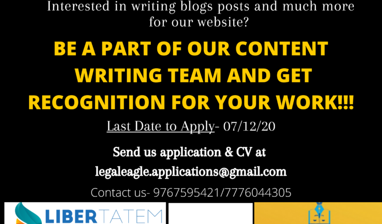 CALL FOR CONTENT WRITERS AT LEGALEAGLE LAW FORUM