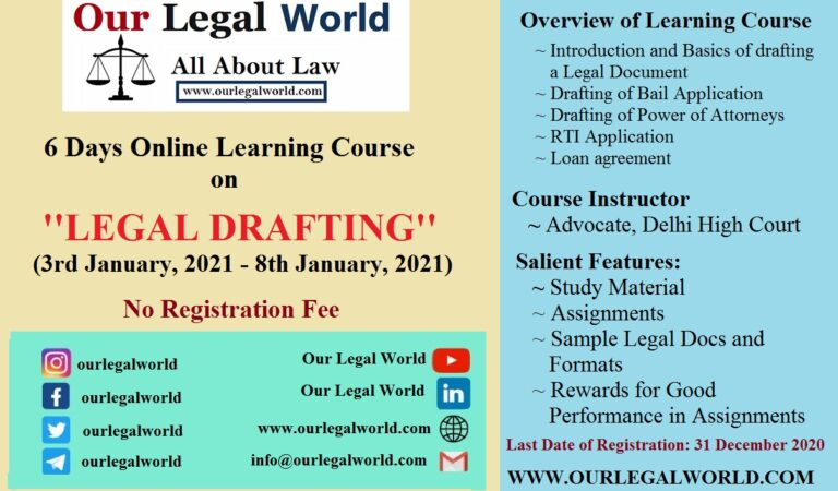 Legal Drafting Course by Our Legal World: Register by 31st Dec 2020 [No Registration Fee]