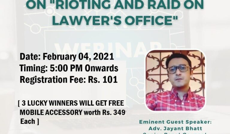 """Workshop  on the topic: """"Rioting & Raids on Lawyer's Office"""""""